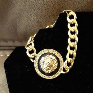 Jewelry - Gold Black Lion Thick Chain Bracelet NEW